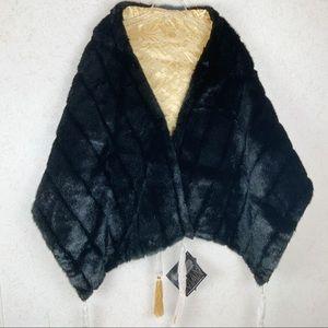 Iman faux fur gold tassel reversible stole wrap
